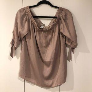 Tops - H&M mauve / light pink off the shoulder blouse